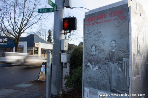 History Here poster on the corner of 7th and Blair in Eugene.