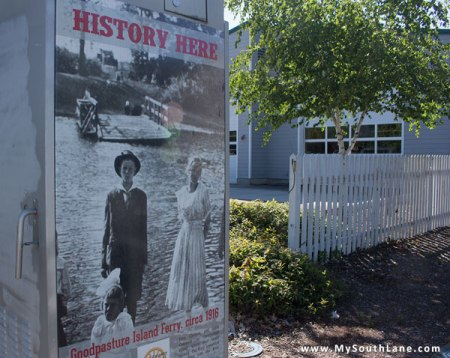 History Here poster on Goodpasture Island Road in Eugene
